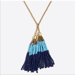 J. Crew Beaded Tassel Long Necklace NWT